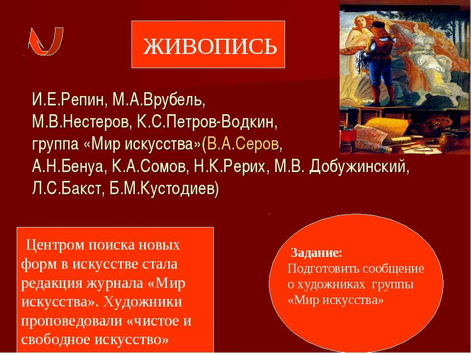 И.Е.Репин, М.А.Врубель, М.В.Нестеров, К.С.Петров-Водкин, группа «Мир искусств...