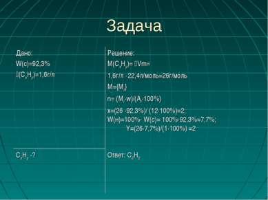 Задача Ответ: С2Н2 СхНy -? Решение: М(СхНy)= Vm= 1,6г/л ∙ 22,4л/моль=26г/моль...