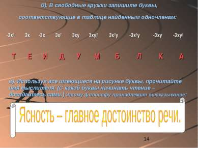 б). В свободные кружки запишите буквы, соответствующие в таблице найденным од...
