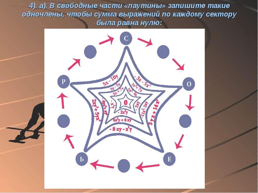 4). а). В свободные части «паутины» запишите такие одночлены, чтобы сумма выр...