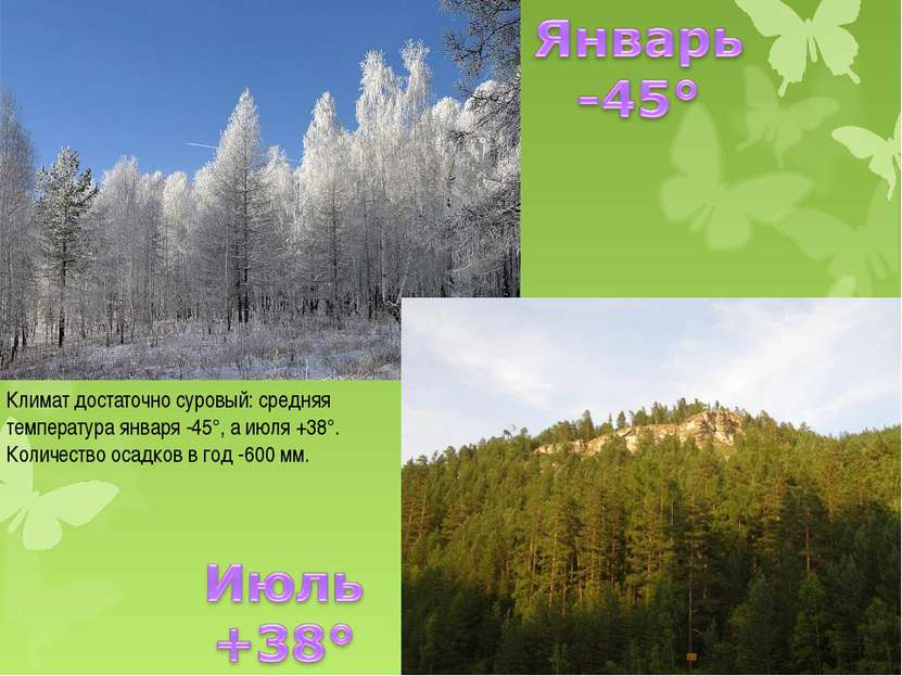 Климат достаточно суровый: средняя температура января -45°, а июля +38°. Коли...