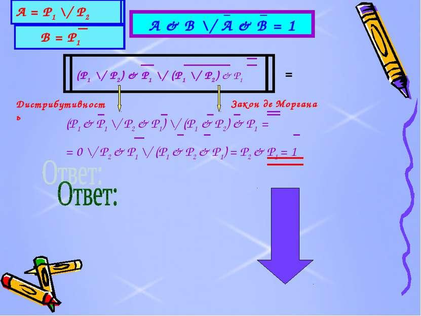 А & B \/ A & B = 1 (P1 \/ P2) & P1 \/ (P1 \/ P2) & P1 А = Р1 \/ Р2 В = Р1 = (...