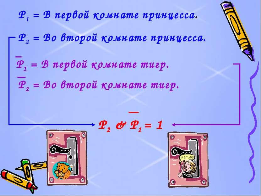 P1 = В первой комнате принцесса. P2 = Во второй комнате принцесса. P1 = В пер...