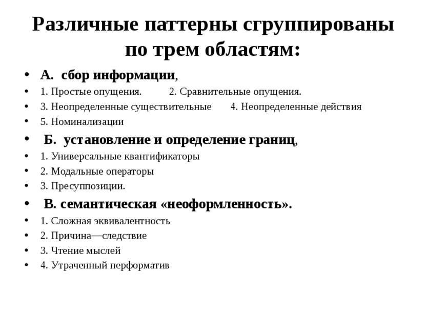 Различные паттерны сгруппированы по трем областям: А. сбор информации, 1. Про...