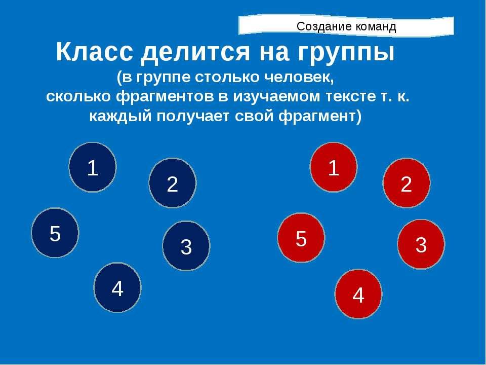 Класс делится на группы (в группе столько человек, сколько фрагментов в изуча...