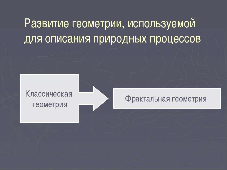 Развитие геометрии, используемой для описания природных процессов Классическа...