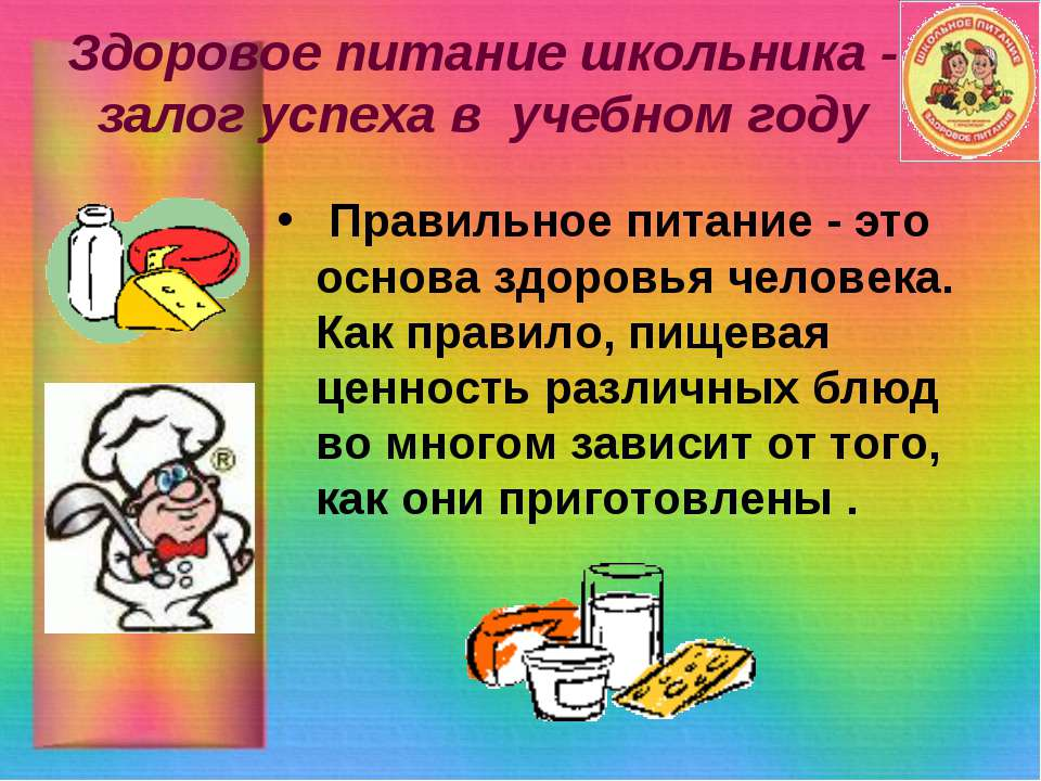 Здоровое питание школьника - залог успеха в учебном году Правильное питание -...