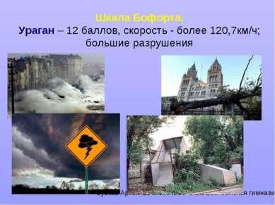 Шкала Бофорта. Ураган – 12 баллов, скорость - более 120,7км/ч; большие разруш...