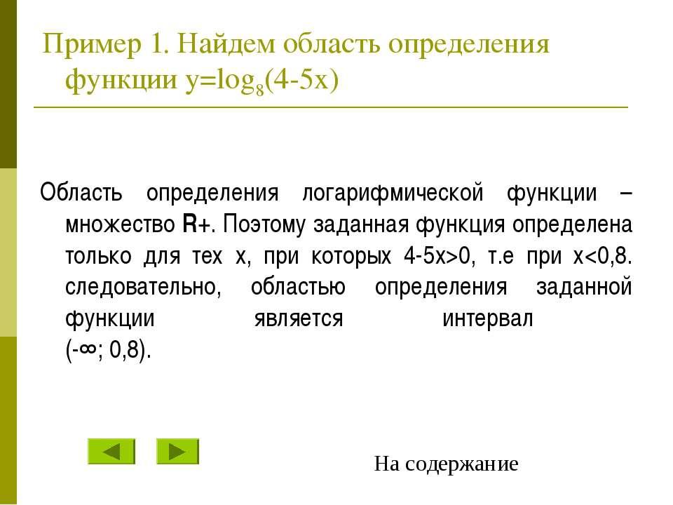 Пример 1. Найдем область определения функции y=log8(4-5x) Область определения...