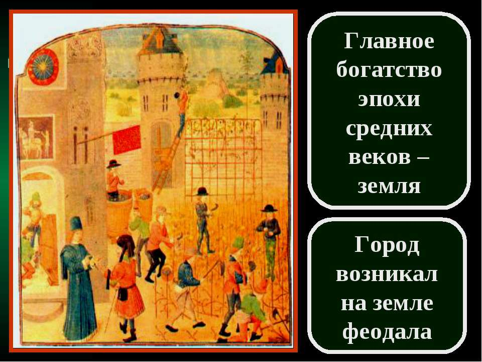 Главное богатство эпохи средних веков – земля Город возникал на земле феодала