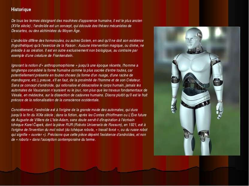 Historique De tous les termes désignant des machines d'apparence humaine, il ...