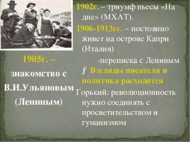 1902г. – триумф пьесы «На дне» (МХАТ). 1906-1913гг. – постоянно живет на остр...
