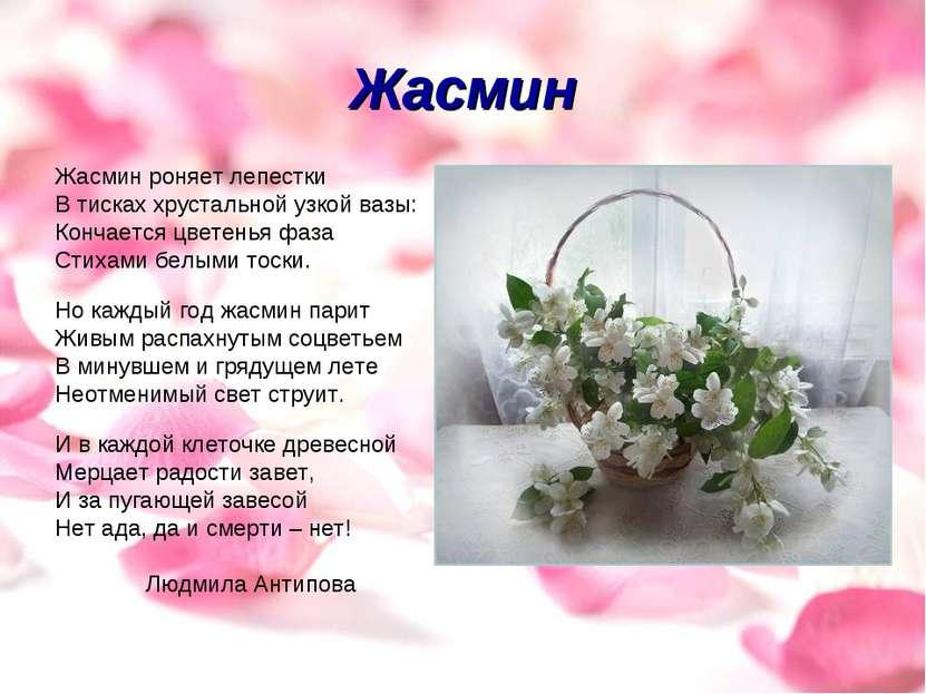 Жасмин Жасмин роняет лепестки В тисках хрустальной узкой вазы: Кончается цвет...