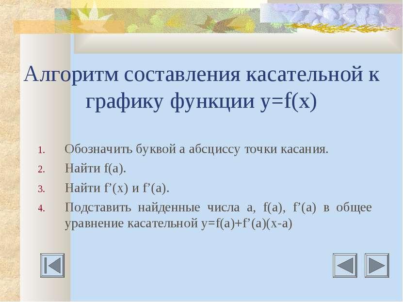 Алгоритм составления касательной к графику функции у=f(x) Обозначить буквой а...
