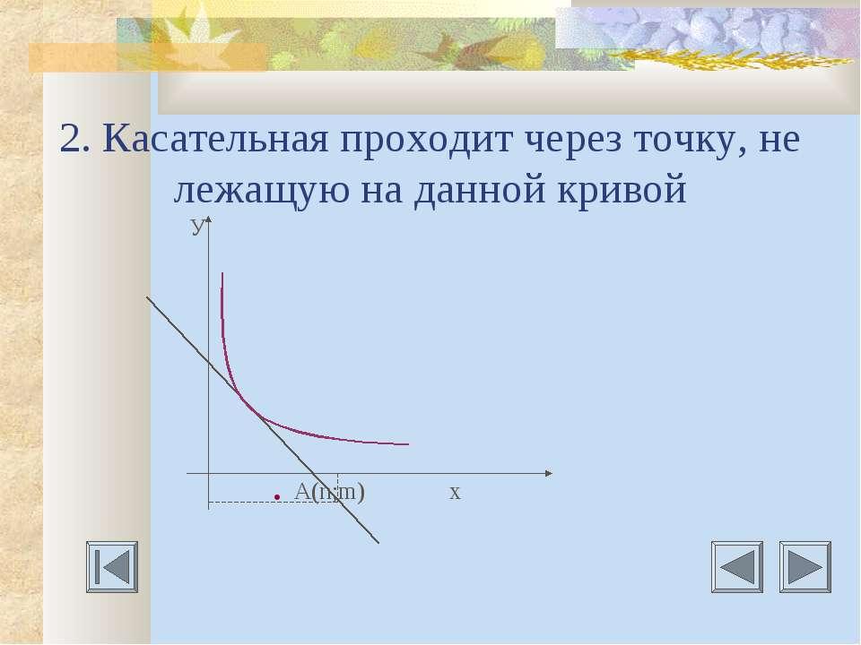 2. Касательная проходит через точку, не лежащую на данной кривой У . A(n;m) х