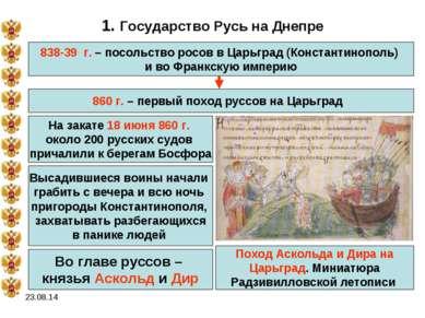 * 1. Государство Русь на Днепре 838-39 г. – посольство росов в Царьград (Конс...