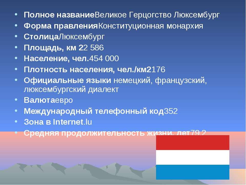 Полное названиеВеликое Герцогство Люксембург Форма правленияКонституционная м...