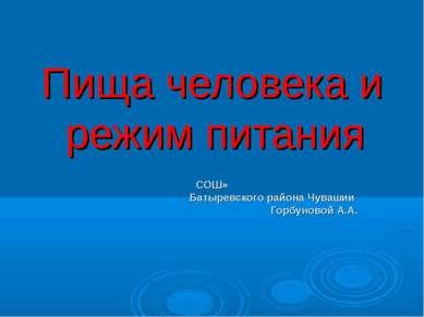 Пища человека и режим питания СОШ» Батыревского района Чувашии Горбуновой А.А.