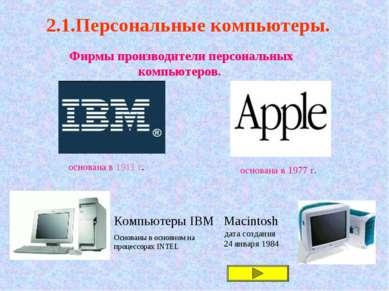 2.1.Персональные компьютеры. Фирмы производители персональных компьютеров. ос...