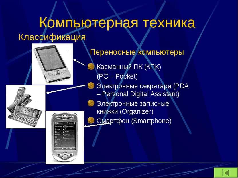 Компьютерная техника Карманный ПК (КПК) (PC – Pocket) Электронные секретари (...