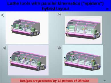 """* Lathe tools with parallel kinematics (""""spiders"""") hybrid layout a) b) c) d) ..."""