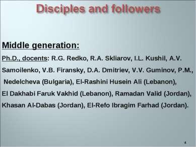 * Middle generation: Ph.D., docents: R.G. Redko, R.A. Skliarov, I.L. Kushil, ...