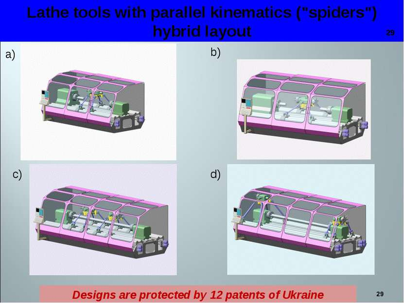 "* Lathe tools with parallel kinematics (""spiders"") hybrid layout a) b) c) d) ..."
