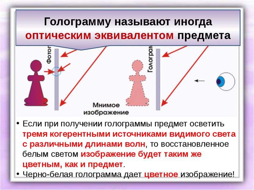 Если при получении голограммы предмет осветить тремя когерентными источниками...