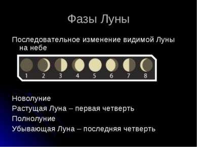 Фазы Луны Последовательное изменение видимой Луны на небе Новолуние Растущая ...