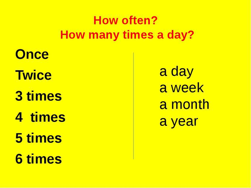 How often? How many times a day? Once Twice 3 times 4 times 5 times 6 times a...