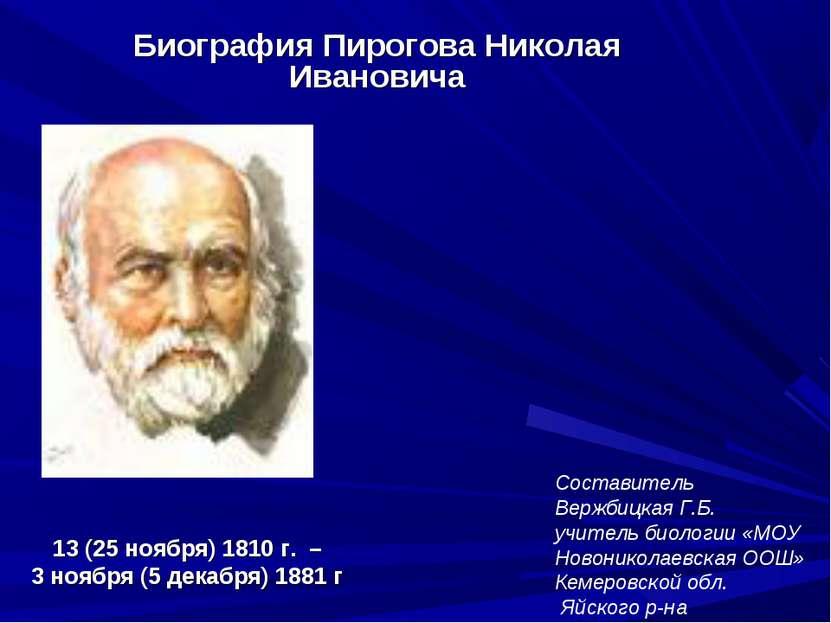 13 (25 ноября) 1810 г. – 3 ноября (5 декабря) 1881 г Биография Пирогова Никол...