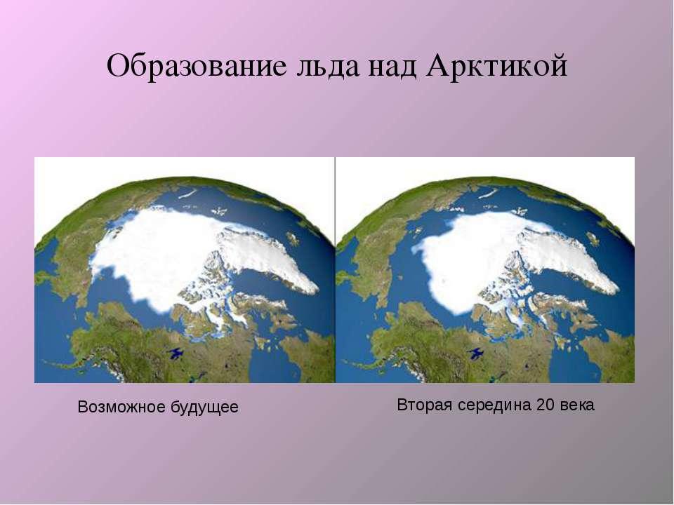 Образование льда над Арктикой Вторая середина 20 века Возможное будущее