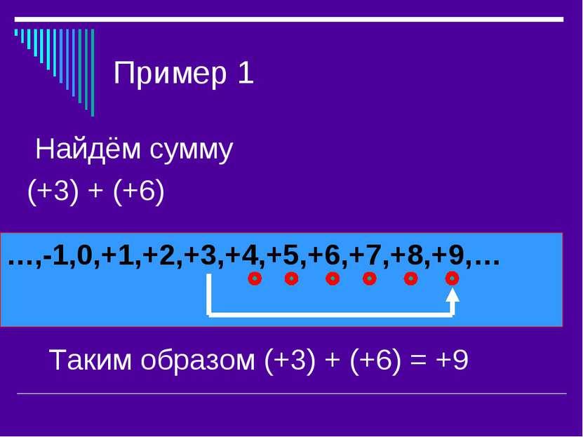Пример 1 Найдём сумму (+3) + (+6) …,-1,0,+1,+2,+3,+4,+5,+6,+7,+8,+9,… Таким о...