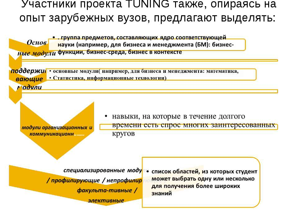Участники проекта TUNING также, опираясь на опыт зарубежных вузов, предлагают...