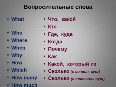 Вопросительные слова What Who Where When Why How Which How many How much Что,...
