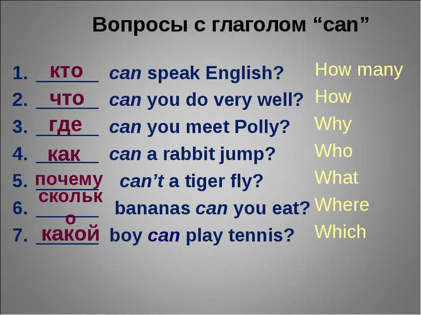 "Вопросы с глаголом ""can"" ______ can speak English? ______ can you do very wel..."