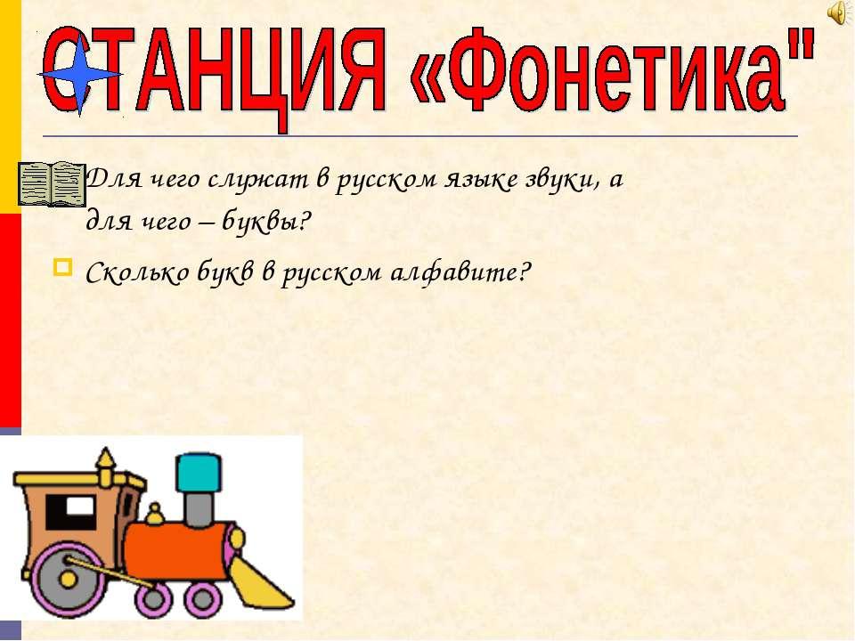 Для чего служат в русском языке звуки, а для чего – буквы? Сколько букв в рус...