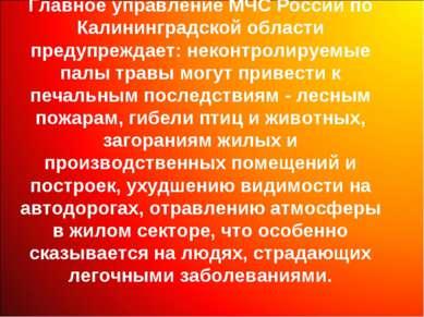 Главное управление МЧС России по Калининградской области предупреждает: некон...
