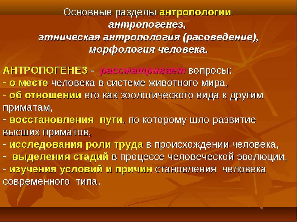 Основные разделы антропологии антропогенез, этническая антропология (расоведе...