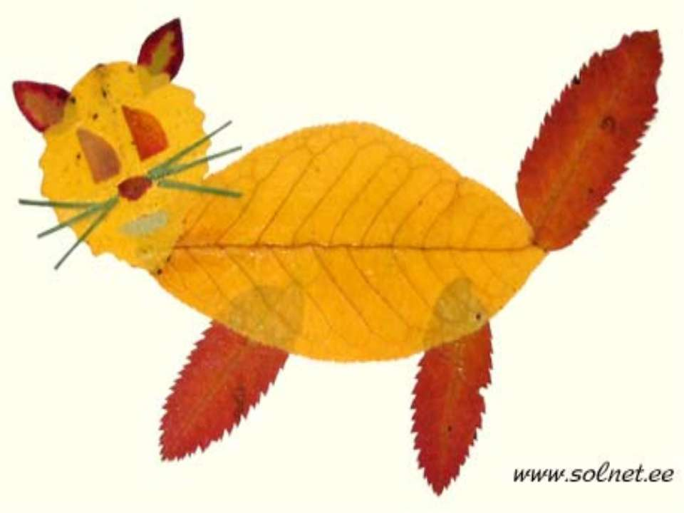 Как сделать поделку из листьев с рисунком
