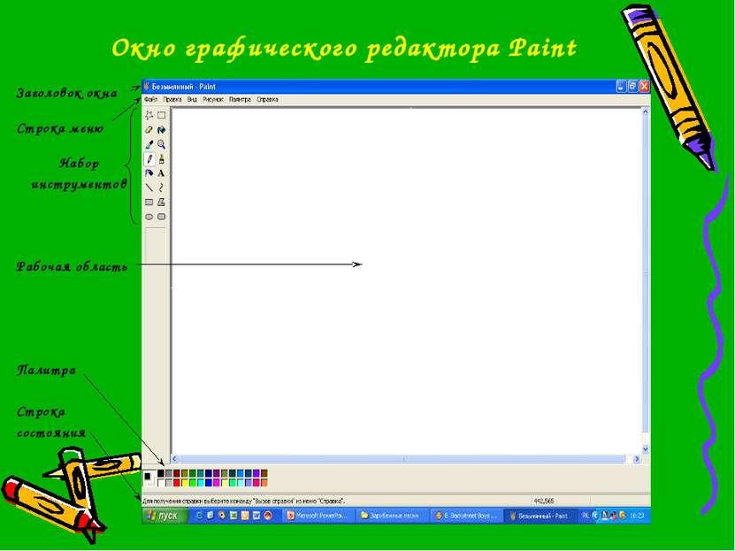 Окно графического редактора Paint Заголовок окна Строка меню Набор инструмент...