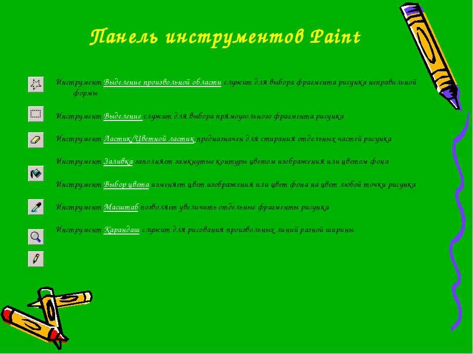 Панель инструментов Paint Инструмент Выделение произвольной области служит дл...