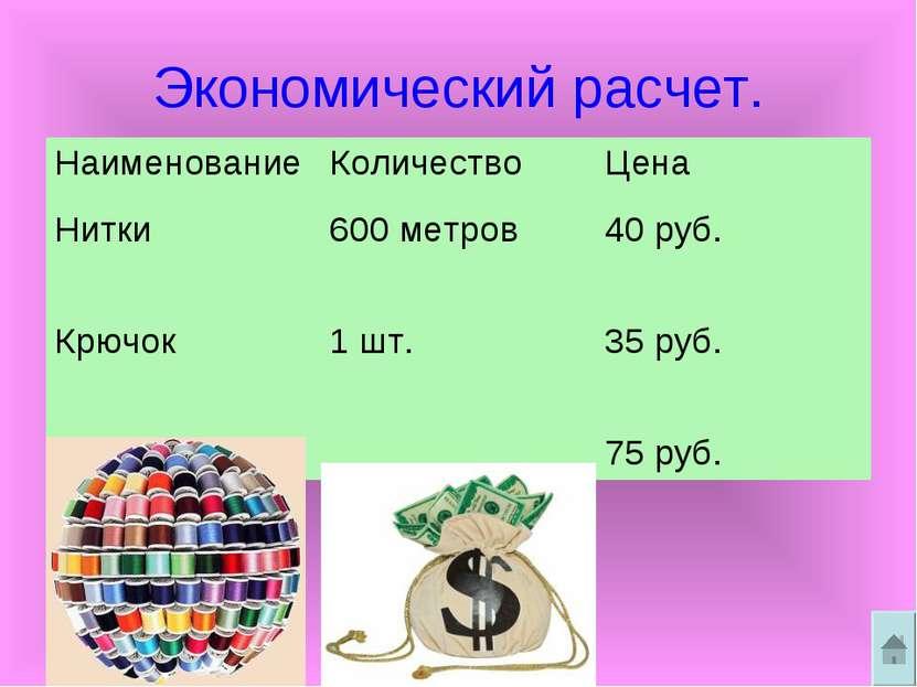 Экономический расчет. Наименование Количество Цена Нитки 600 метров 40 руб. К...