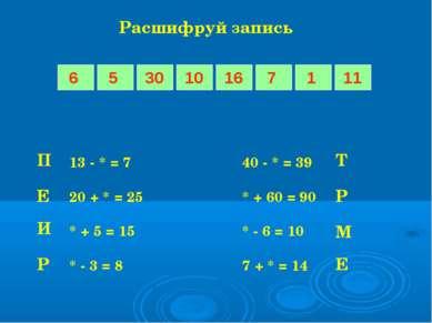 Расшифруй запись 13 - * = 7 40 - * = 39 20 + * = 25 * + 60 = 90 * + 5 = 15 * ...