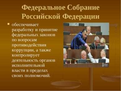 Федеральное Собрание Российской Федерации обеспечивает разработку и принятие ...