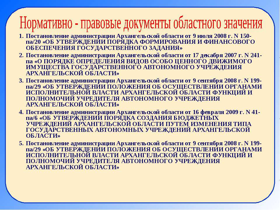 Постановление администрации Архангельской области от 9 июля 2008 г. N 150-па/...