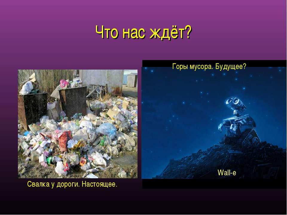 Что нас ждёт? Горы мусора. Будущее? Свалка у дороги. Настоящее. Wall-e