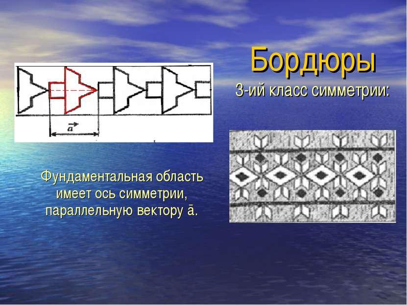 Бордюры 3-ий класс симметрии: Фундаментальная область имеет ось симметрии, па...