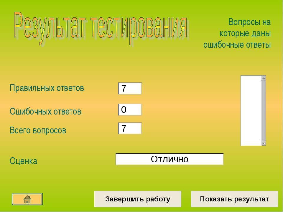 Правильных ответов Ошибочных ответов Всего вопросов Оценка Вопросы на которые...