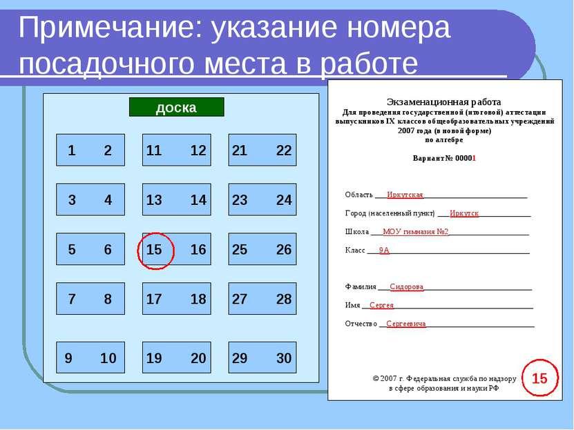 Примечание: указание номера посадочного места в работе доска 15